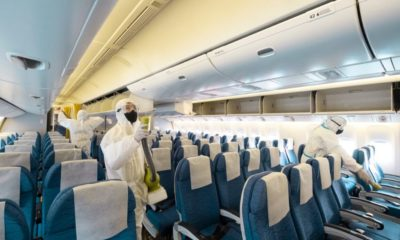 deep cleaning inside an aircraft | Airlines May Halt All Domestic Passenger Flights | Featured