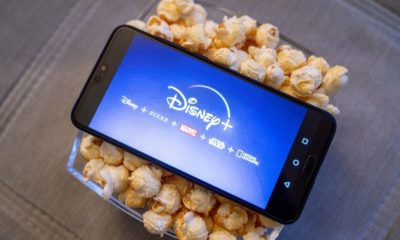 """Disney Plus Streaming Service Logo on a Smartphone 