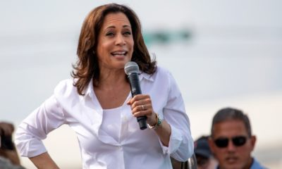 Kamala Harris greets supporters at the Iowa State Fair political soapbox in Des Moines Iowa-Harris Now Supports Small Business-ss-featured