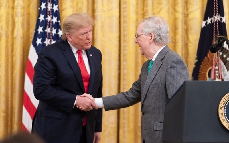 President Donald J. Trump Handshakes Senate Majority Leader Mitch McConnell | Top Republicans Support Trump's Pursuit of Challenging the 2020 Presidential Election
