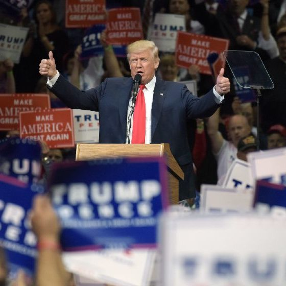 Republican Presidential nominee Donald Trump appears during a rally Oct. 10, 2016-Patriot Party-ss-featured