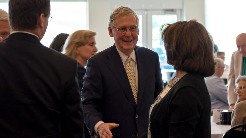 Republican Senator Mitch McConnell greets people at fundraiser in Elizabethtown-Mitch McConnell-ss-featured