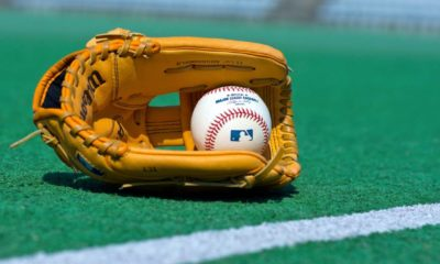 official Major League Baseball ball and glove on the green field-woke companies-ss-featured