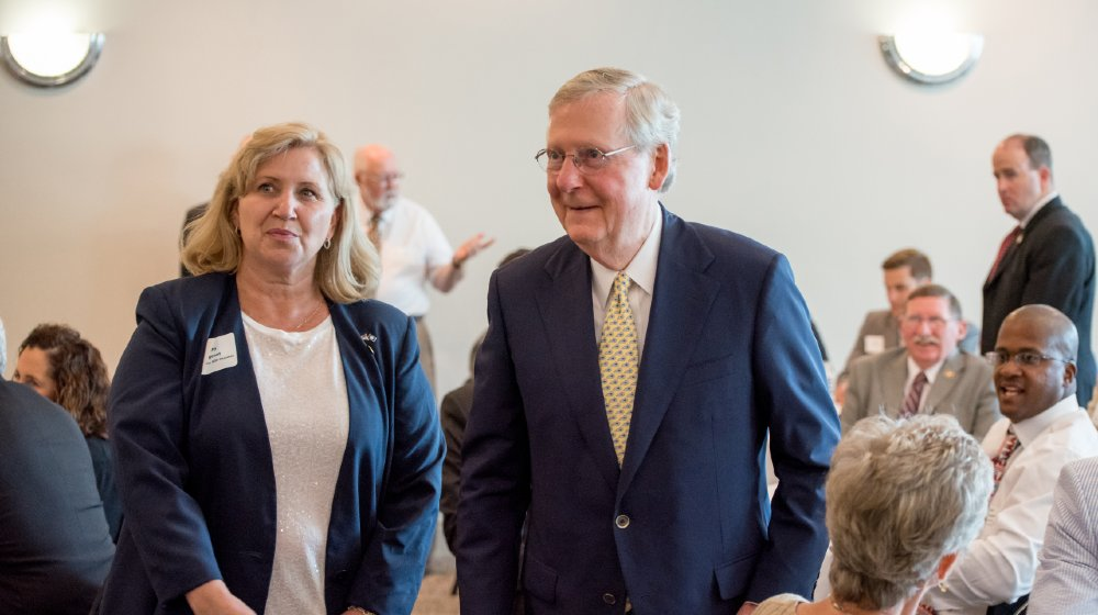 Republican Senator Mitch McConnell greets people at fundraiser in Elizabethtown | GOLDEN: Mitch McConnell's Cynical Gamble | featured