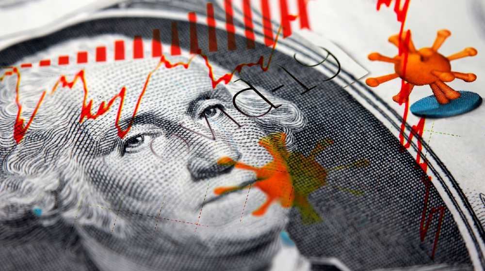 G. Washington on a 1 dollar bill combined with Corona Covid-19 newspaper headlines and a red declining stock market trendline | 6 Unknowns, Which Are Relevant To Our Economy | featured