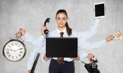 modern businesswoman replaces several people at once | 4 Practical Ways to Accomplish More in Less Time | featured