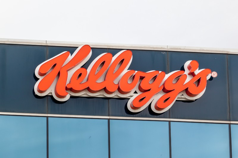 Kellogg's sign on their Canada's head office building in Mississauga-Kellogg Workers