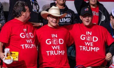President Trump supporters wearing faith in God and Trump shirts at the rally in the Bojangle's Coliseum | Trump Vows to Make America Great Again - Again | featured