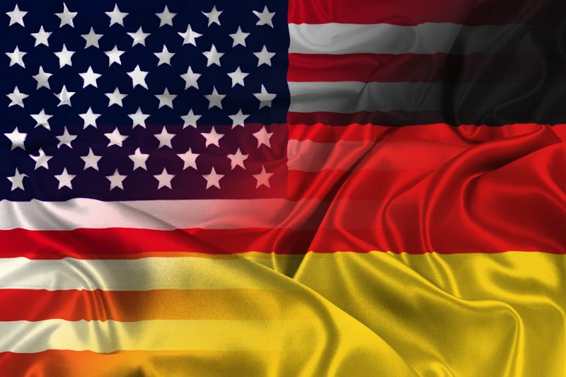 Two flags of USA and Germany-German Election